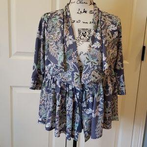 Jaase Floral Peplum Kimono Jacket EUC